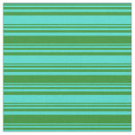 [ Thumbnail: Turquoise and Forest Green Colored Stripes Fabric ]