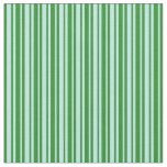 [ Thumbnail: Turquoise and Forest Green Lines/Stripes Pattern Fabric ]