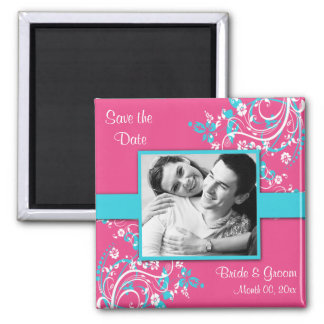 Turquoise and Fuschia Save the Date photo Magnets