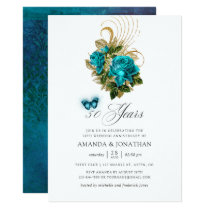 Turquoise and Gold 50th Wedding Anniversary Invitation