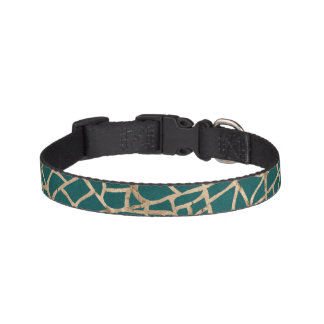 Turquoise and Gold Crackle Dog Collar