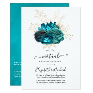 Turquoise and Gold Online Virtual Wedding Invitations