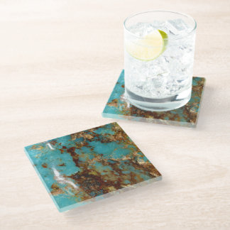 Turquoise and gold glass coaster