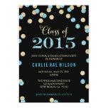 "Turquoise and Gold Glitter Graduation Invitations 5"" X 7"" Invitation Card"