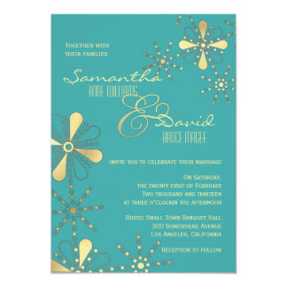 Turquoise and Gold Indian Inspired Wedding Card