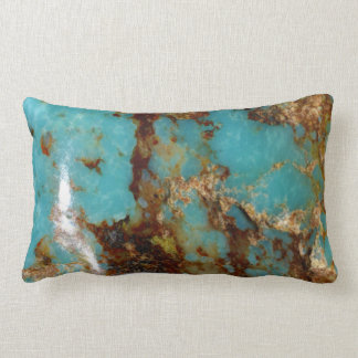 Turquoise and gold lumbar pillow