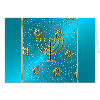 Turquoise and Gold Menorah Hanukkah Card