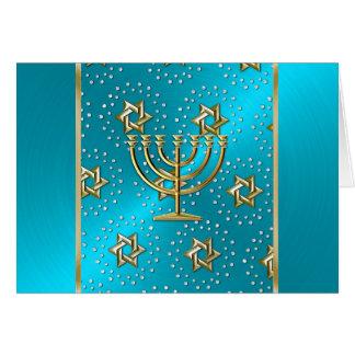 Turquoise and Gold Menorah Hanukkah Card