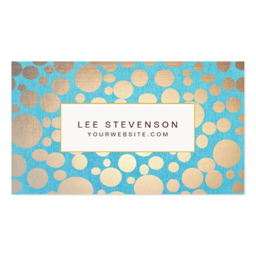 Turquoise and Gold Modern Pattern Beauty Salon Business Card Template