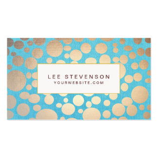 Turquoise and Gold Modern Pattern Beauty Salon Double-Sided Standard Business Cards (Pack Of 100)