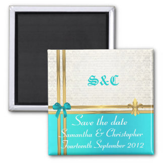 Turquoise and gold on damask save the date 2 inch square magnet