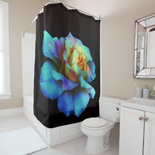 Turquoise And Gold Rainbow Rose Shower Curtain