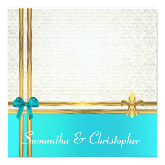 Turquoise  and gold ribbon with white  damask 5.25x5.25 square paper invitation card