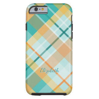 turquoise and gold summertime colors tartan plaid tough iPhone 6 case