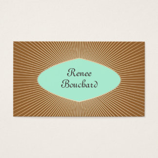 Turquoise and Gold Sunburst Retro Fashion Boutique Business Card