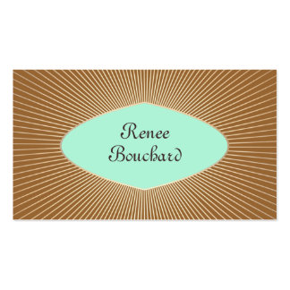 Turquoise and Gold Sunburst Retro Fashion Boutique Double-Sided Standard Business Cards (Pack Of 100)