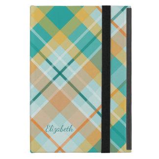 turquoise and gold tartan plaid iPad mini cover