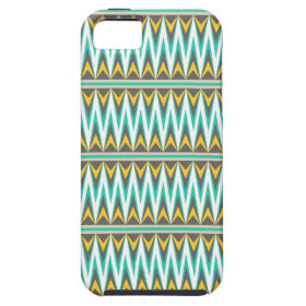 Turquoise and Gold Tribal Arrowhead Zigzags Print iPhone 5 Case