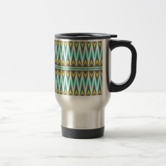 Turquoise and Gold Tribal Arrowhead Zigzags Print 15 Oz Stainless Steel Travel Mug