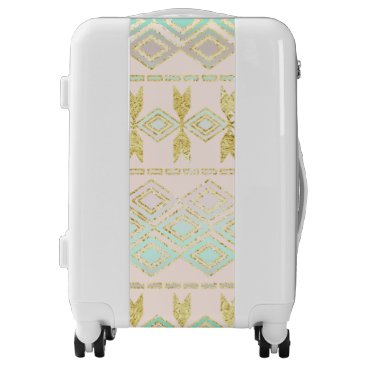Aztec Themed Turquoise and Gold Tribal Aztec Pattern Luggage