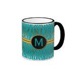 Turquoise and Gold Zebra Stripe Pattern Ringer Mug