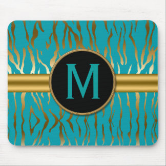 Turquoise and Gold Zebra Stripes with Monogram Mouse Pad