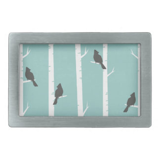 Turquoise and Gray Birds and Birch Trees Belt Buckle