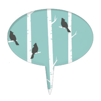 Turquoise and Gray Birds and Birch Trees Cake Topper