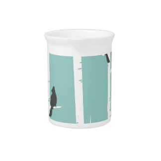 Turquoise and Gray Birds and Birch Trees Drink Pitcher