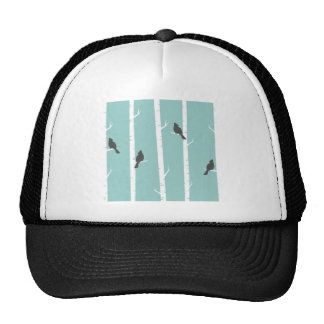 Turquoise and Gray Birds and Birch Trees Trucker Hat