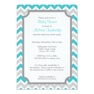 Turquoise and Gray Chevron Baby Shower Invitations