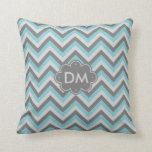 "Turquoise And Gray Chevron Pattern Monogram Pillow<br><div class=""desc"">A modern personalized monogram pillow featuring a gray chevron pattern with a turquoise accent color zig zag. Customize with your own initials on the dark gray cloud-shaped enclosure.</div>"