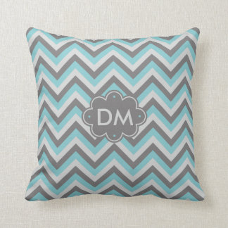 Turquoise And Gray Chevron Pattern Monogram Pillow