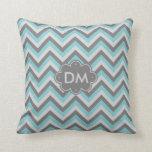 Turquoise And Gray Chevron Pattern Monogram Pillow