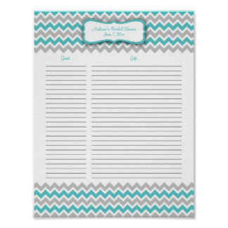 Turquoise and Gray Chevron Shower Gift List Poster