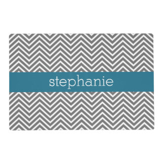 Turquoise and Gray Chevrons Custom Name Placemat