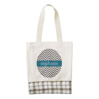 Turquoise and Gray Chevrons Custom Name Zazzle HEART Tote Bag