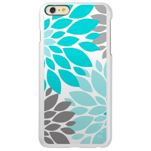 Turquoise and Gray Chrysanthemums Floral Pattern Incipio Feather Shine iPhone 6 Plus Case