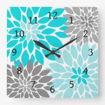 Turquoise and Gray Chrysanthemums Floral Pattern Square Wall Clock