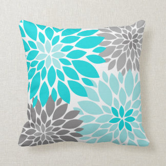 Turquoise and Gray Chrysanthemums Floral Pattern Throw Pillow