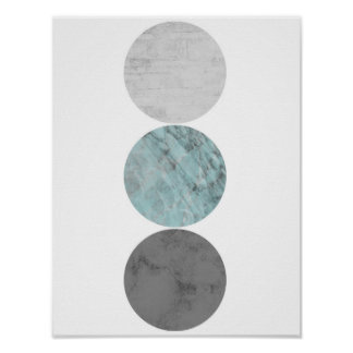 Turquoise and gray circles poster