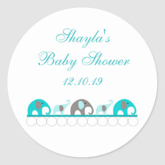 Turquoise and Gray Elephant Baby Shower Favor Round Sticker