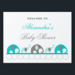 "Turquoise and Gray Elephant Baby Shower Welcome Sign<br><div class=""desc"">Feel free to change the wording to anything you like!  Would work for a Welcome Baby sign also. ♥♥♥ ♥♥♥ ♥♥♥ Visit our ELEPHANT SECTION for coordinating items and other colors.  ♥♥♥ ♥♥♥ ♥♥♥ Contact us anytime with questions.</div>"