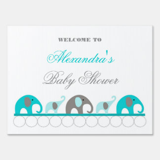 Turquoise and Gray Elephant Baby Shower Welcome Lawn Signs