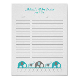 Turquoise and Gray Elephants Baby Shower Gift List Poster