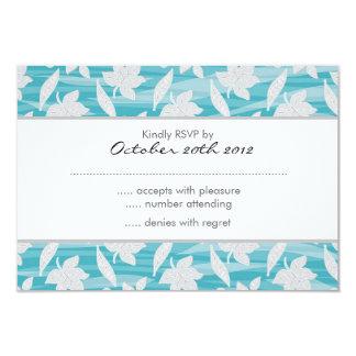 """turquoise and gray lovely leaves pattern RSVP 3.5"""" X 5"""" Invitation Card"""