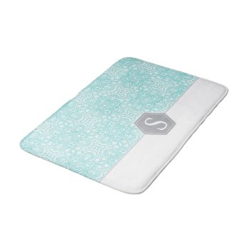 Turquoise And Gray Monogram Pattern Template… Bath Mat by RWdesigning at Zazzle
