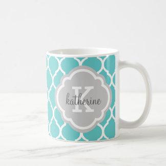 Turquoise and Gray Moroccan Quatrefoil Monogram Classic White Coffee Mug
