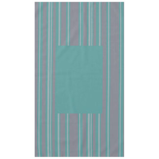 Turquoise and gray stripe awning cotton tablecloth