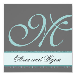 TURQUOISE and GRAY Wedding Invitation